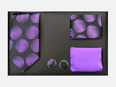 Men's Four Piece Purple and Black Wavy Circle Gift Box