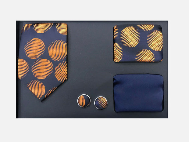 Men's Four Piece Orange Circle Patterned Gift Box