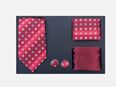 Men's Four Piece Burgundy Striped Square Patterned Gift Box