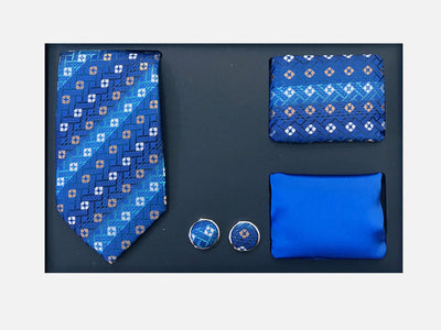 Men's Four Piece Blue Square Patterned Gift Box