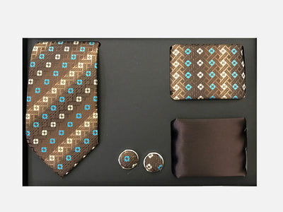 Men's Four Piece Brown and Blue Square Patterned Gift Box