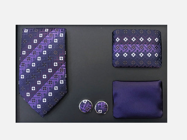 Men's Four Piece Purple Square Patterned Gift Box