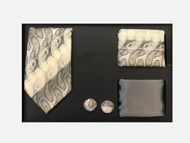 Men's Four Piece Taupe Paisley Stripe Patterned Gift Box