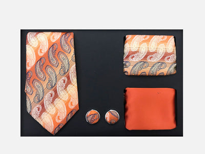 Men's Four Piece Orange Paisley Stripe Patterned Gift Box