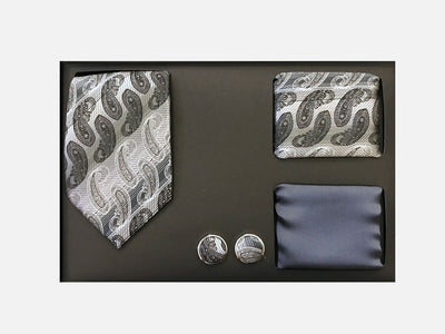 Men's Four Piece Grey Paisley Stripe Patterned Gift Box