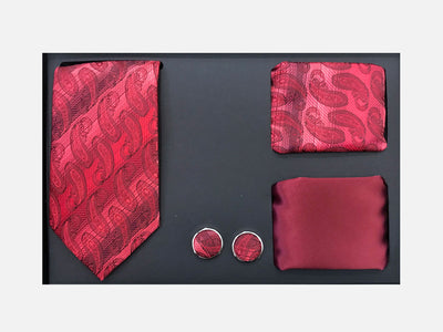 Men's Four Piece Red Paisley Stripe Patterned Gift Box