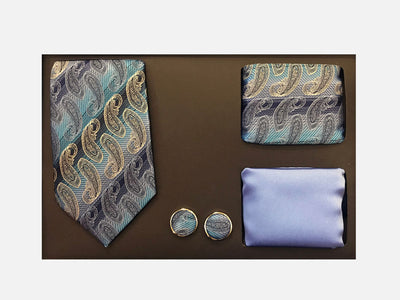 Men's Four Piece Multi-Colored Paisley Stripe Patterned Gift Box