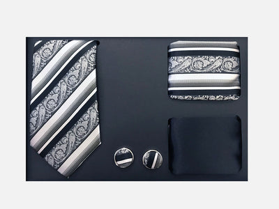Men's Four Piece Black Paisley Stripe Patterned Gift Box