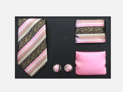 Men's Four Piece Pink Paisley Stripe Patterned Gift Box