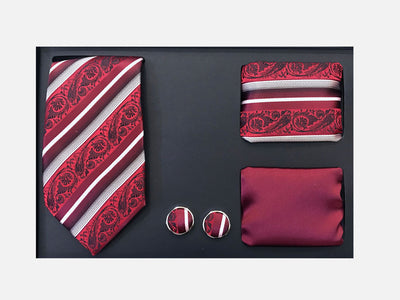 Men's Four Piece Red and White Paisley Stripe Patterned Gift Box