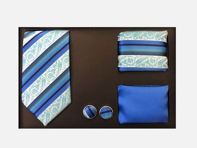 Men's Four Piece Blue Paisley Stripe Patterned Gift Box
