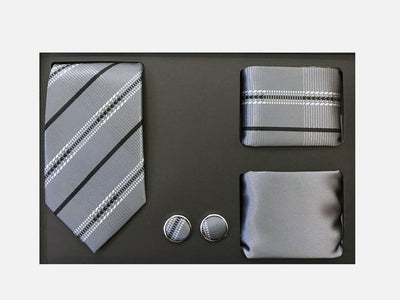 Men's Four Piece Grey Stripe Patterned Gift Box