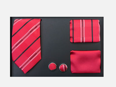 Men's Four Piece Red Stripe Patterned Gift Box