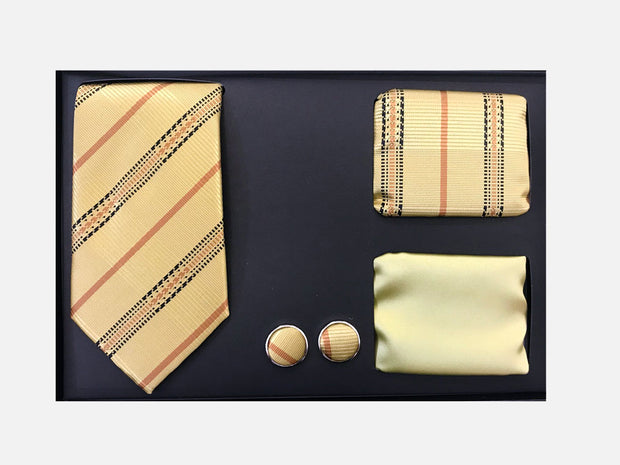Men's Four Piece Gold Stripe Patterned Gift Box