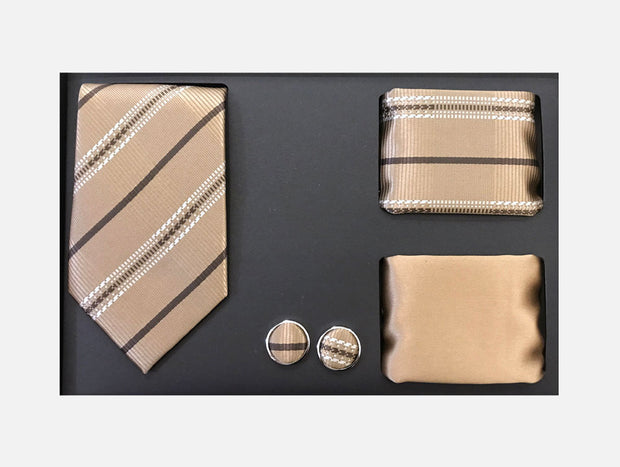 Men's Four Piece Tan Stripe Patterned Gift Box