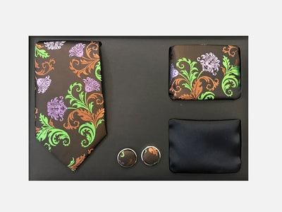 Men's Four Piece Brown and Green Floral Patterned Gift Box