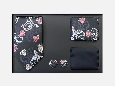 Men's Four Piece Black Floral Patterned Gift Box