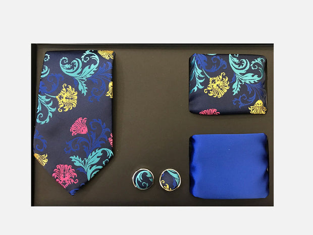 Men's Four Piece Royal Blue Floral Patterned Gift Box