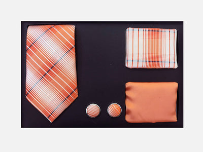 Men's Four Piece Orange and White Plaid Patterned Gift Box