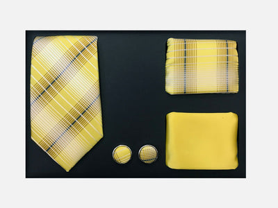 Men's Four Piece Yellow and Gold Plaid Patterned Gift Box