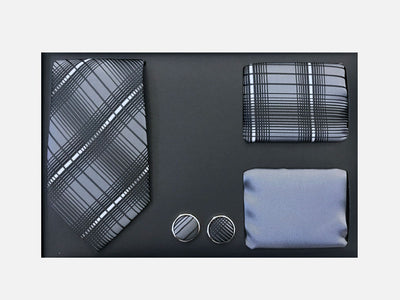 Men's Four Piece Blue and Black Plaid Patterned Gift Box