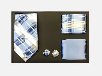Men's Four Piece Light Blue Plaid Patterned Gift Box