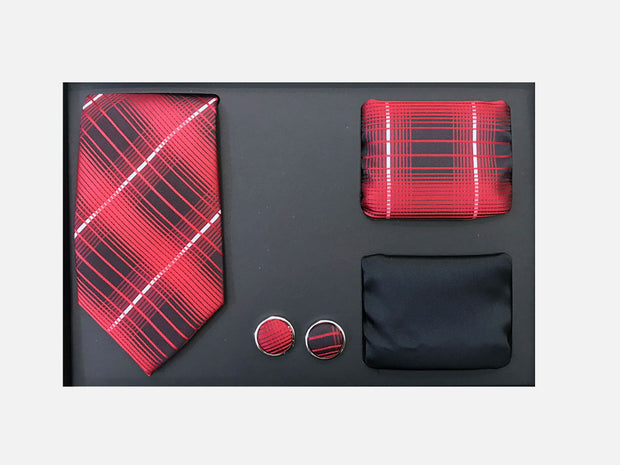 Men's Four Piece Black and Red Plaid Patterned Gift Box