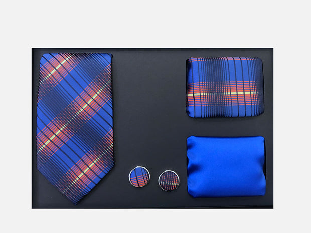 Men's Four Piece Royal Blue Plaid Patterned Gift Box