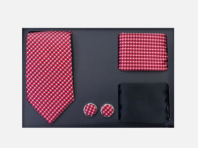 Men's Four Piece Red and White Small Checkered Patterned Gift Box