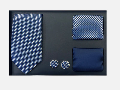 Men's Four Piece Navy Small Checkered Patterned Gift Box