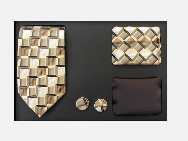 Men's Four Piece Brown Checkered Patterned Gift Box