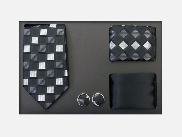 Men's Four Piece Black and White Checkered Patterned Gift Box
