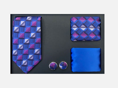 Men's Four Piece Royal Blue and White Checkered Patterned Gift Box