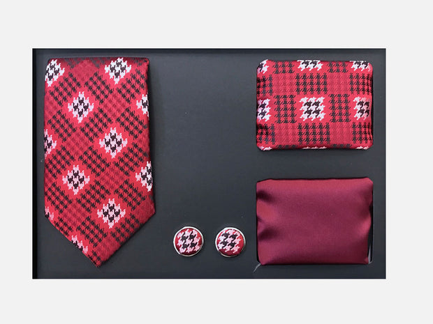 Men's Four Piece Burgundy and White Checkered Patterned Gift Box