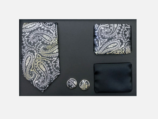 Men's Four Piece Black and Grey Paisley Patterned Gift Box