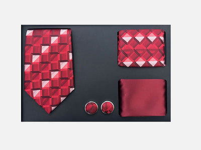 Men's Four Piece Red and White Checkered Patterned Gift Box