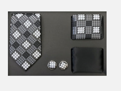 Men's Four Piece Black and Grey Checkered Patterned Gift Box