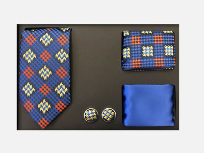 Men's Four Piece Royal Blue and Yellow Checkered Patterned Gift Box