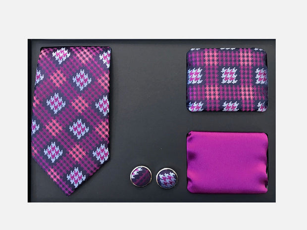 Men's Four Piece Purple Striped Patterned Gift Box