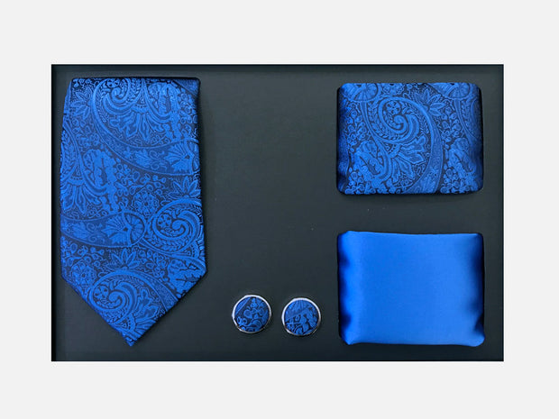 Men's Four Piece Royal Blue Paisley Patterned Gift Box