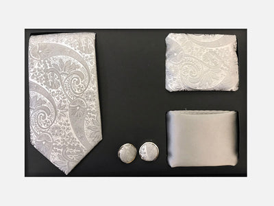 Men's Four Piece Ivory Paisley Patterned Gift Box