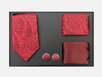 Men's Four Piece Red Paisley Patterned Gift Box