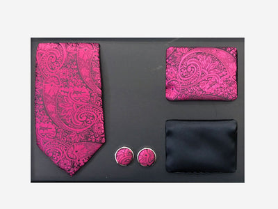 Men's Four Piece Fuchsia Paisley Patterned Gift Box