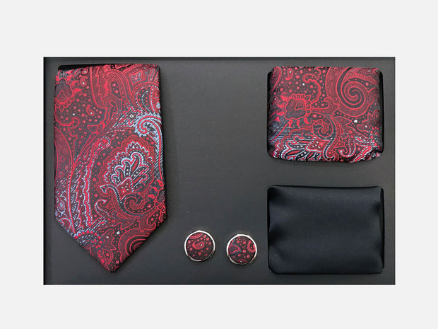 Men's Four Piece Black and Red Paisley Patterned Gift Box