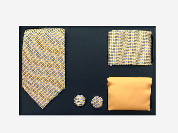 Men's Four Piece Yellow and Blue Diamond Patterned Gift Box