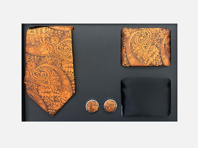 Men's Four Piece Orange Paisley Patterned Gift Box