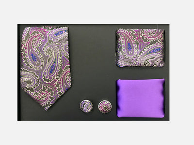 Men's Four Piece Purple Paisley Patterned Gift Box