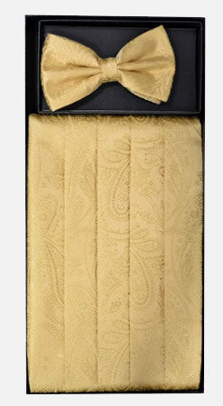 Men's Silk Paisley Gold Cummerbund with Bow Tie