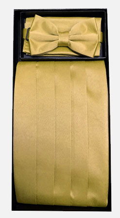Men's Silk Gold Cummerbund with Bow Tie