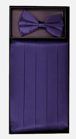 Men's Silk Grape Cummerbund with Bow Tie